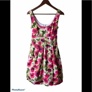 Suzy Shier floral fit and flair dress with tulle